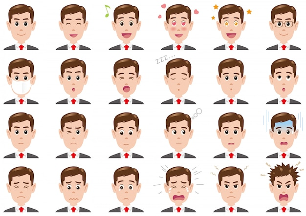 Businessman various expressions set. vector characters isolated