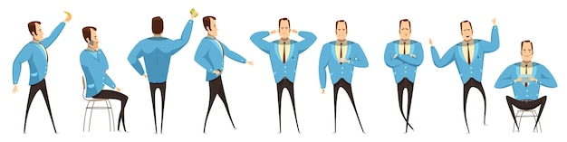 Businessman in various poses set