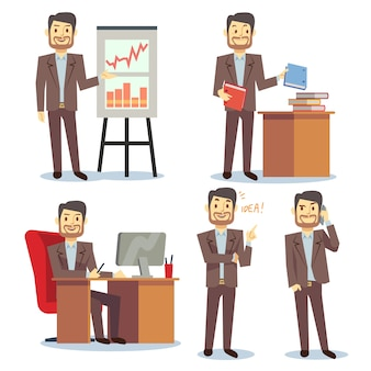 Businessman in various situations in office vector business peoples cartoon flat set. consultant sho