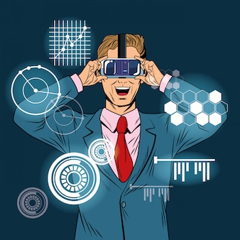 Businessman virtual reality pop art cartoon