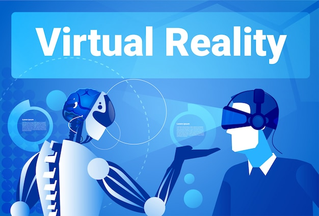 Businessman in virtual reality using modern robot man in vr goggles concept
