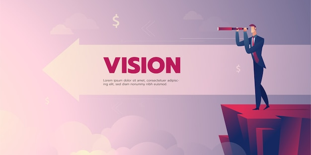 Businessman vision banner with text