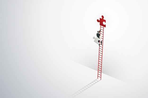 Businessman vision creative concept solution opportunities on top of ladder climb puzzle elements success.