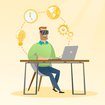 Businessman in vr headset working on a computer