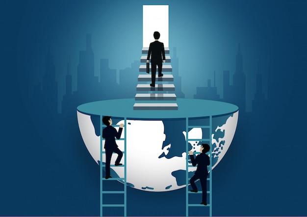 Бизнесмен поднимается по лестнице к двери. шаг вверх по лестнице к цели успеха в жизни и прогресса в работе