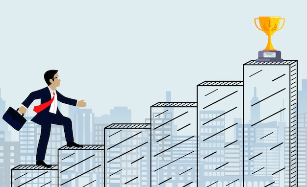 Бизнесмен подниматься по лестнице к цели. на фоне города