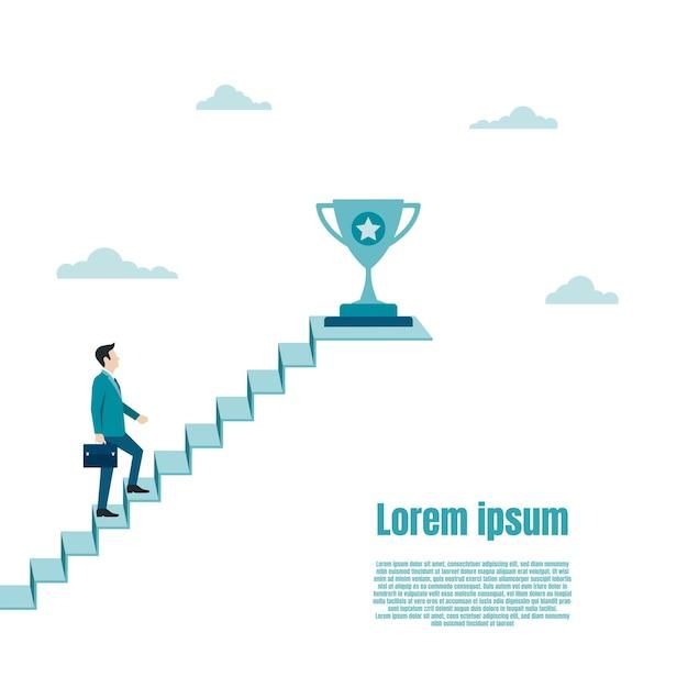 ビジネスマンは成功のはしごでトロフィーに向かって歩きます。アチーブメント、勝利、ゴール、チャンピオンアチーブメントに対する賞。ビジネスの成功目標。キャリアの成長。ベクトルイラストフラット