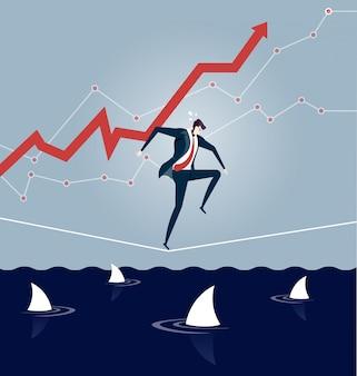 Бизнесмен, хождение по канату над морем акул
