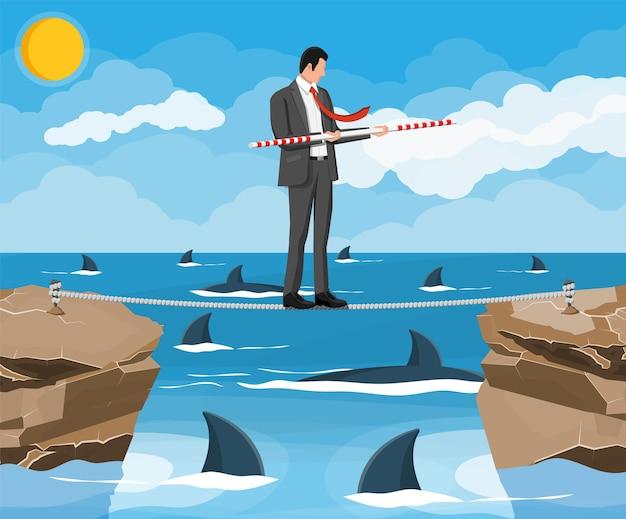 물 속에서 상어 위에 줄타기를 걷는 사업가. 밸런서와 함께 밧줄에 걷는 소송에서 사업가입니다. 도로의 장애물, 금융 위기. 위험 관리 도전. 평면 벡터 일러스트 레이 션