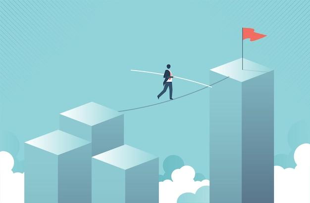 줄타기 벡터 개념 비즈니스 위험 용기의 상징에 격차를 가로질러 걷는 사업가