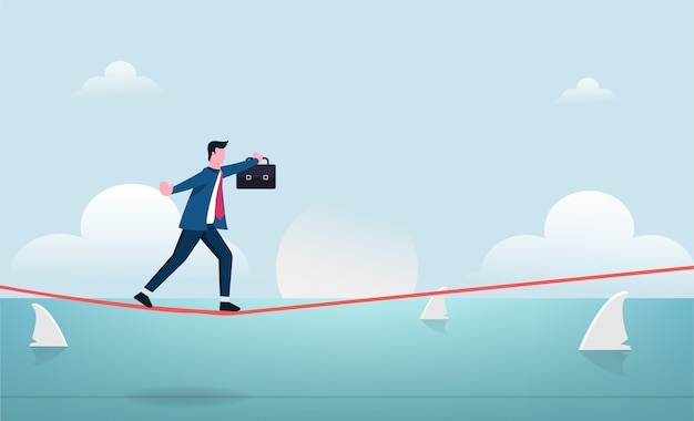 Businessman walking in balance on tightrope with risk  illustration.