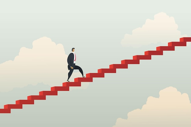 Businessman walking climbing up stair red