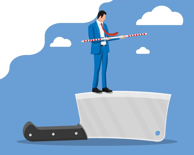 Businessman walking on edge of knife with balancer stick. business man walking on razor blade. obstacle on road, financial crisis. risk management challenge. vector illustration in flat style