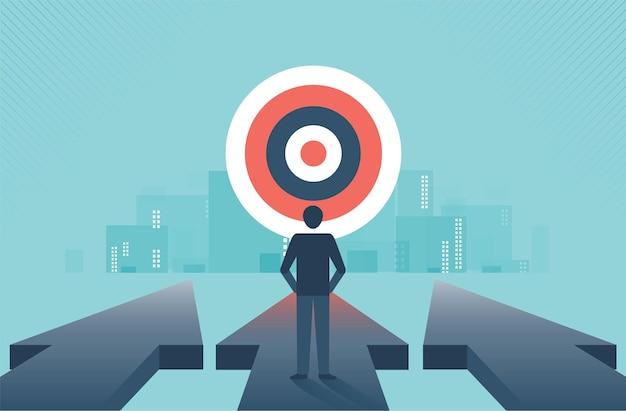 화살표를 따라 앞으로 걸어가는 사업가와 도달해야 할 장애물과 도전을 극복할 계획