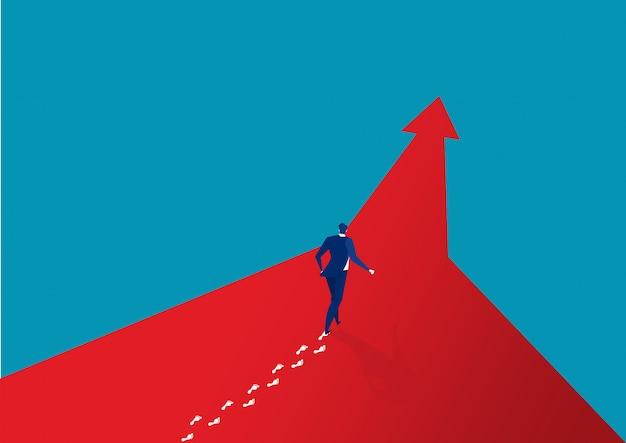 Businessman walking forward success