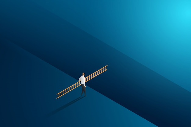 挑戦と目標の成功にクロス持株はしごを歩くビジネスマン。図
