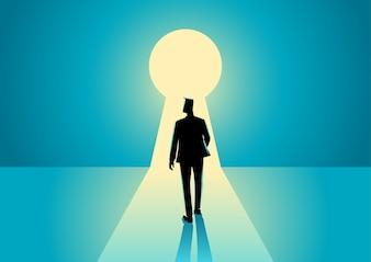 Businessman walking into keyhole