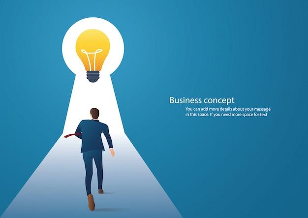 Businessman walking to light bulbs in keyhole