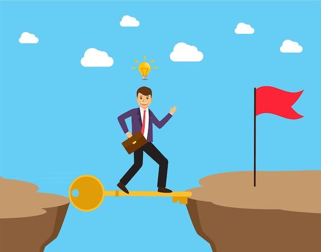 山の中で金の成功の鍵の嵐を歩いているビジネスマン。ビジネスコンセプト