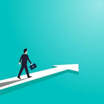 矢印の道を歩くビジネスマンは成功に行く