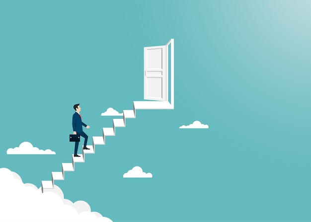 はしごまで歩いているビジネスマンは成功への扉を開きます。リーダーシップと成功のコンセプト。企業財務。ビジョン、達成、目標、キャリア。ベクトルイラストフラット