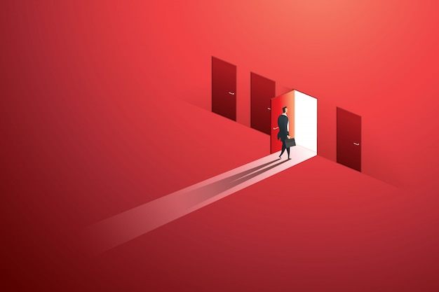 Businessman walking open door of choice path to goal success on wall red. illustration