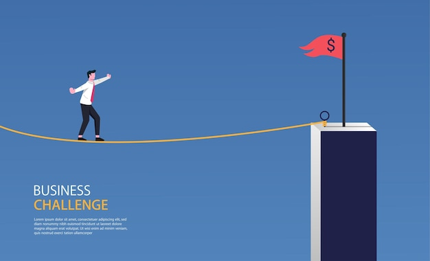 Businessman walking on rope to the red flag symbol. business challenge