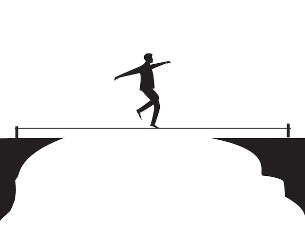Businessman walking on rope. risk challenge in business concept