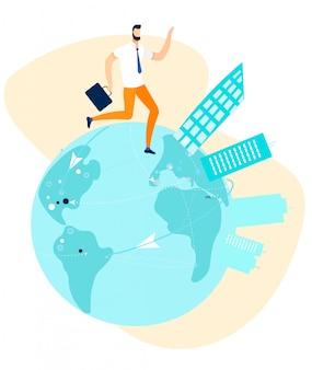 Businessman walking, running round globe cartoon