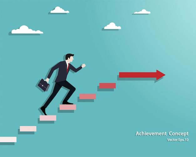 Businessman walking on stair up to success