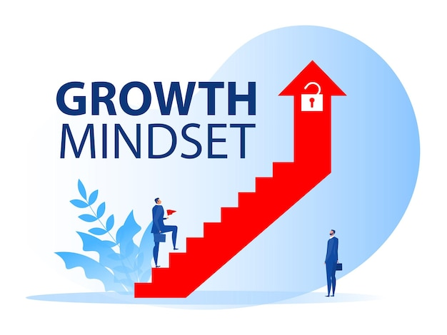 Businessman walking on staircase on arrow growth mindset to career