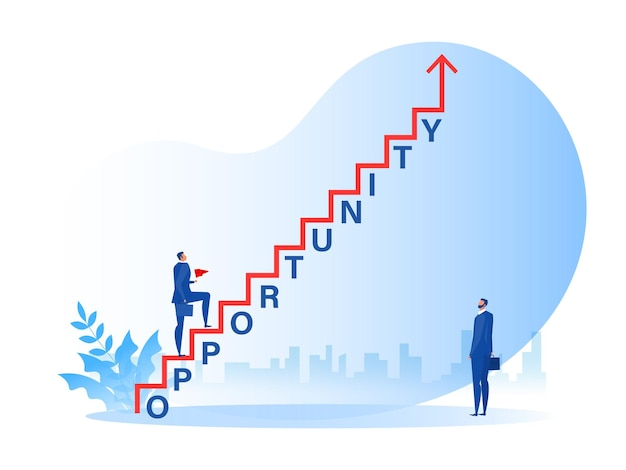 Businessman walking on staircase with opportunity word growth success vector illustrator
