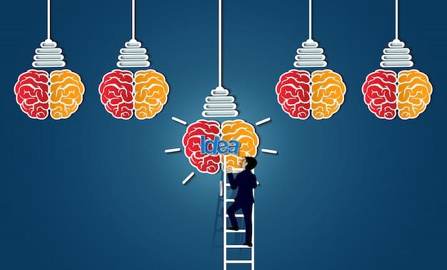 Бизнесмен, поднявшись по лестнице, идет к мозгу значок лампочки, Premium векторы