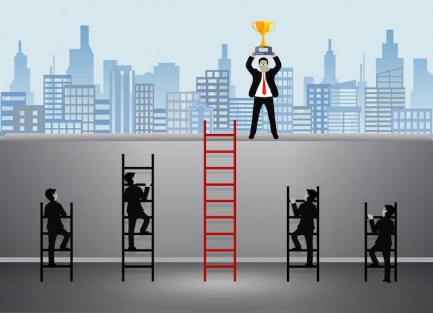Бизнесмен идет по лестнице к цели Premium векторы