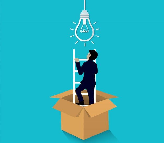 Бизнесмен, поднявшись по лестнице, идет к лампочке из коричневой коробки