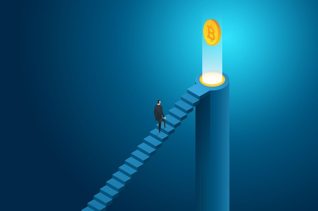 Businessman walking up on stairs to bitcoin cryptocurrency