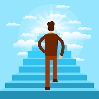 Businessman walking up stairs to sky business man