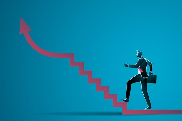 Businessman walking up stairs with arrow
