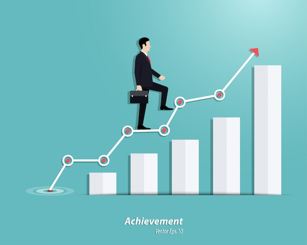 Businessman walking up to the steps or success chart
