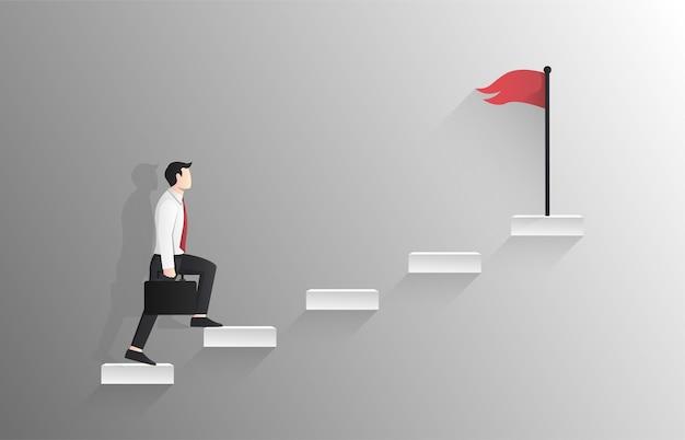 Бизнесмен идет вверх по лестнице к красному флагу на вершине концепции.