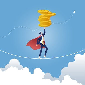 Businessman walking with dollar coin on rope, modern flat vector illustration