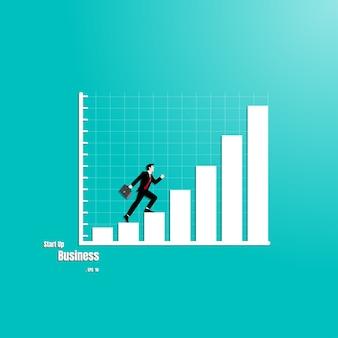 Businessman walks on graphs to success