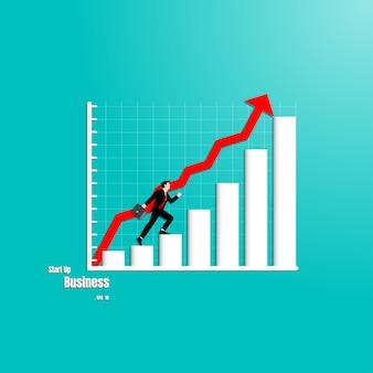 ビジネスマン、グラフ、成功、歩く