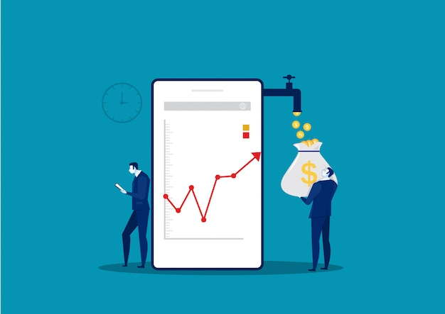 ビジネスマン時計電話成長市場グラフグラフストックイラストを分析します。