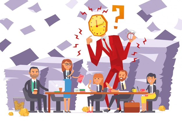 Businessman watchhead, company meeting, team dissatisfied with woman work  illustration. time running out, deadline close