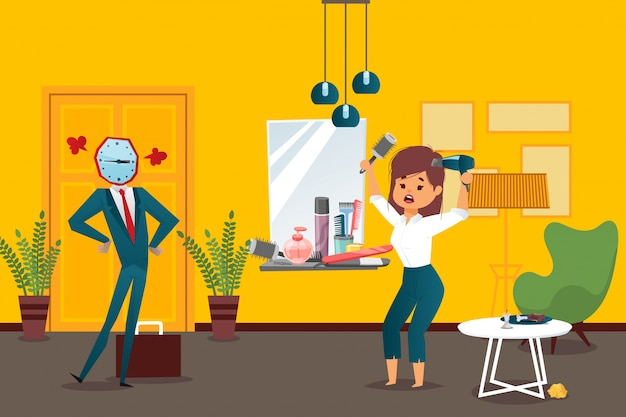 Businessman watchhead  illustration employee late, woman get ready for work  banner. character angry with late girl
