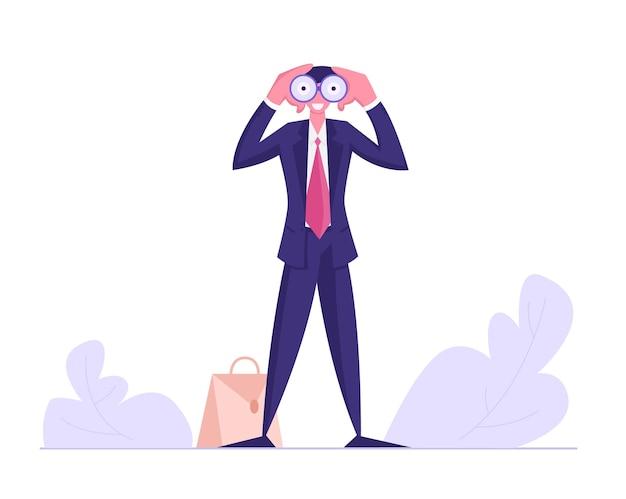Бизнесмен наблюдает за набором бизнес-видения в бинокль