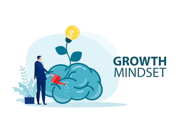 Businessman water the plants big brain for growth mindset concept vector