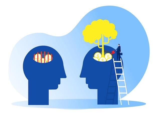 Бизнесмен поливает растения, деньги думают о концепции роста мышления