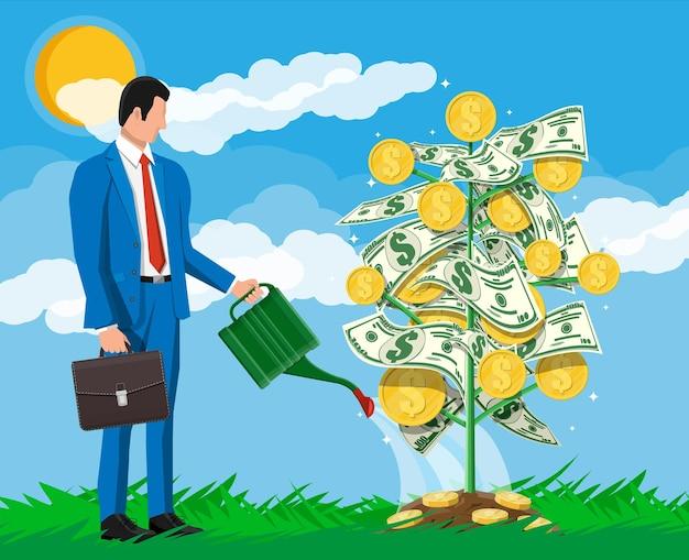 Бизнесмен, поливая денежное дерево монеты с может. растущее денежное дерево. инвестиции, инвестирование. золотые монеты и долларовые банкноты на филиалах. символ богатства. успех в бизнесе. плоские векторные иллюстрации.